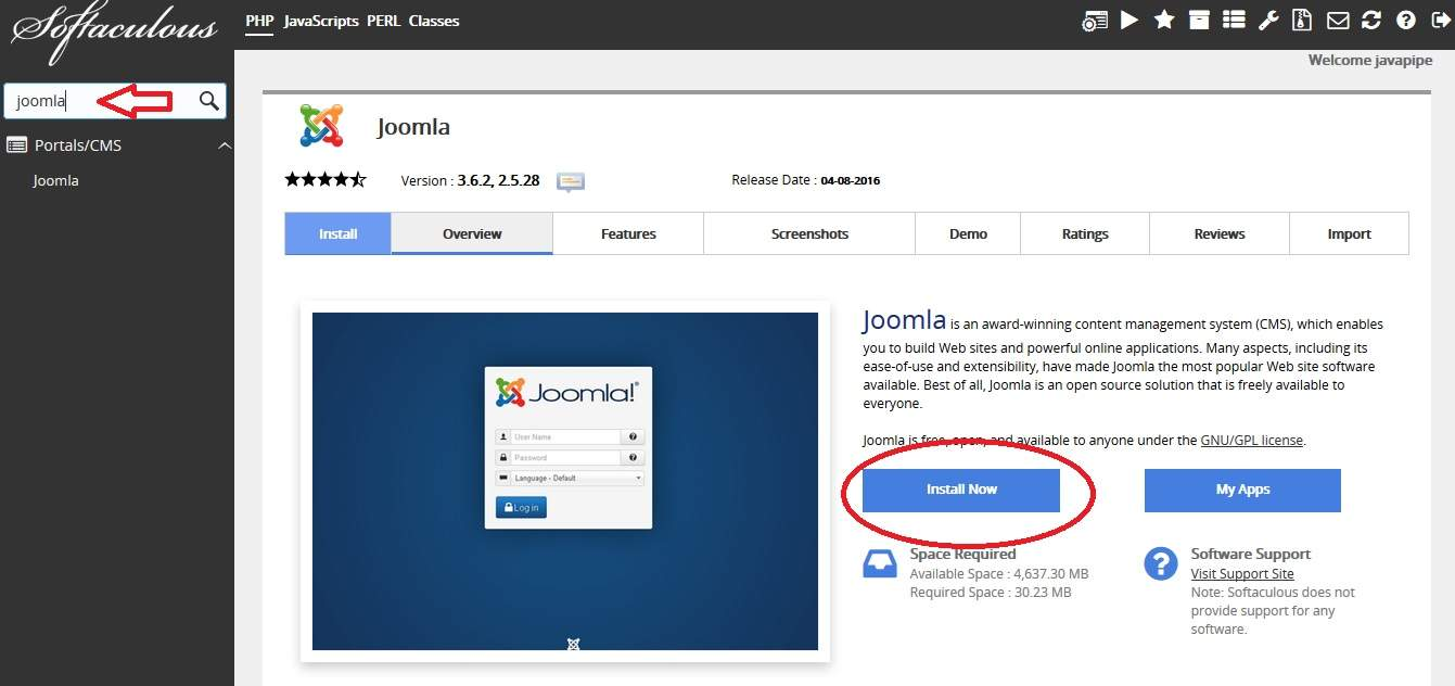 Find Joomla hosting in installer
