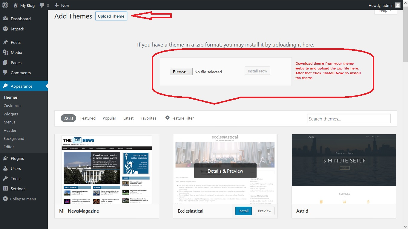 How to upload WordPress themes