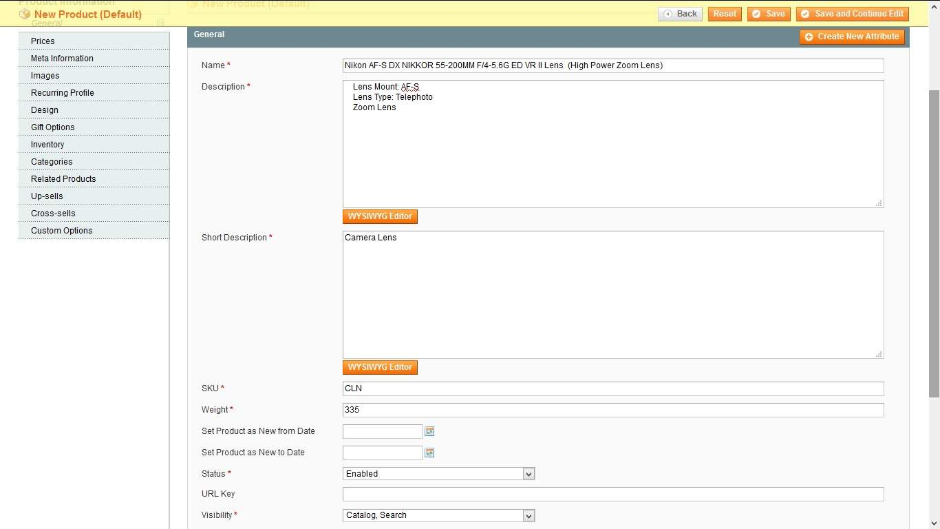 Configuring a new product in Magento