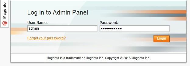Magento admin login