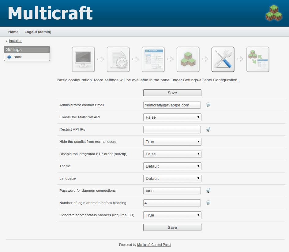 multicraft panel configuration
