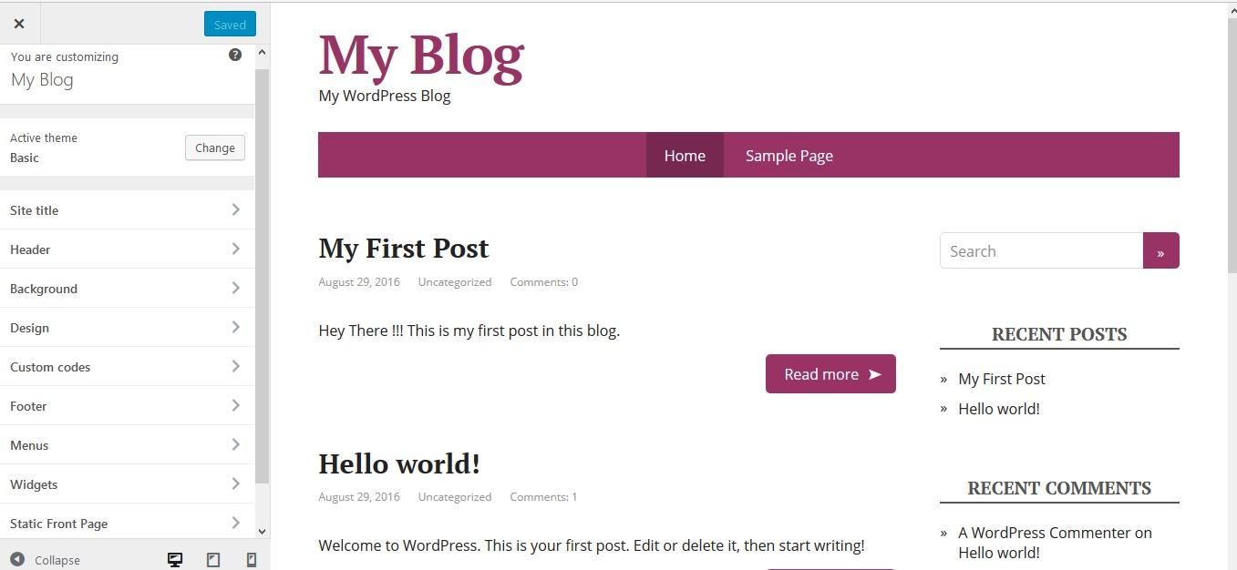Custom WordPress hosting theme
