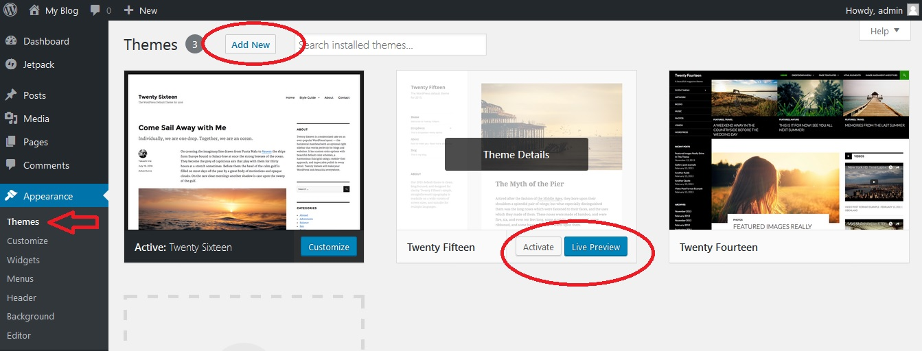 Installing WordPress themes