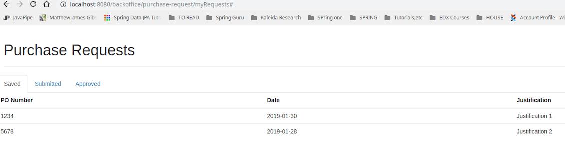 Spring MVC examples tutorial screenshot
