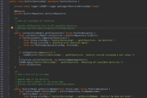 Code of a Java Application